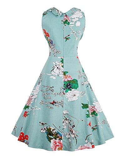 Minetom Damen Vintage 50er Kleid Retro Audrey Hepburn Tupfen Schwingen Pinup Polka Dots Rockabilly Kleid Blumen Kleider Hellblau