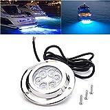 Esplic Luz subacuática LED, Luz subacuática LED de Acero Inoxidable, Luces subacuáticas LED Impermeables IP68 para Yates, Barcos, Marinas (Blanco)