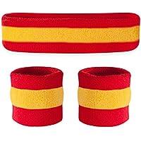 Conjunto deportivo de cinta para la cabeza y muñequeras Suddora, hombre, Red Yellow Red