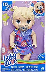 Baby Alive Baby Lil Sounds:Interactive Blonde Hair Baby Doll, Kids Ages 3 & Up, Makes 10 Sounds, with Paci
