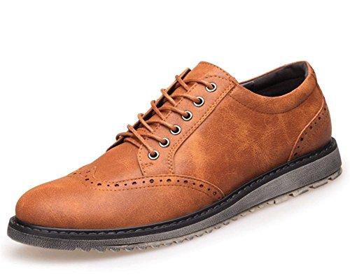 Oxford Kleid Schuhe für Herren- formal Leder Schuhe - beiläufig klassisch Für Männer Schuhe- Herren- Locke geschnitzt Schuhe , Yellow , 41 (Martin Locken)