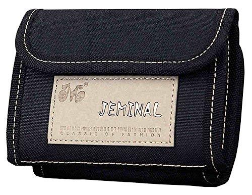 QISHI YUHUA JML da uomo Sport e tempo libero 3Fold breve borsa tela Portafogli Grey Taglia unica Black