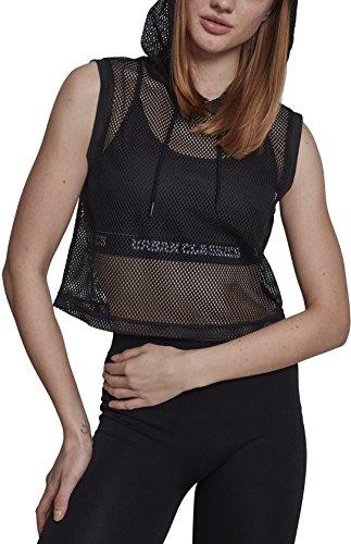 Urban Classics Damen Ladies Mesh Cropped Hoody Kapuzenpullover, Schwarz (Black 00007), Medium (Herstellergröße: M) (Schwarzes Cropped Shirt)