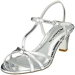Tamaris Damen 28329 T-Spangen Sandalen, Silber (Silver), 39 EU