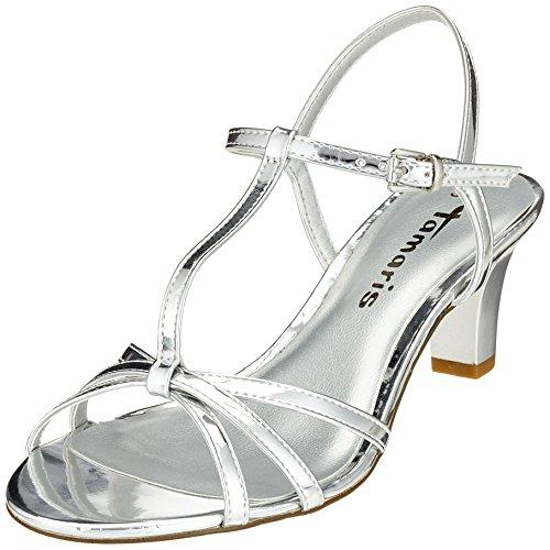 Tamaris Damen 28329 T-Spangen Sandalen, Silber (Silver), 36 EU