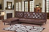 NUEVO estilo victoriano estilo antiguo marrón piel sintética ante L Shaped Corner 4plazas Charles sofá cama con chaise longue universal