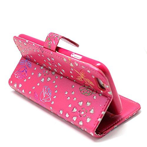 Kamal Star® Klappschutzhülle fürs Handy, aus Kunstleder, mit Standfunktion, für verschiedenen Apple-Handys, mit Magnetschließe, inkl. Eingabestift, Kunstleder, Blue Book, iPhone 5 5S Rose Pink Diamond Book
