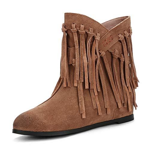 HOESCZS New Plus Size 34-43 Kuh Wildleder Slip On Damen Stiefel Schuhe Frau Fransen Stiefel Hinzufügen Pelz Stiefeletten Frau,Khaki,39