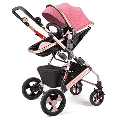 Qiangzi Carrito bebé Niño El cochecito de bebé puede sentarse puede mentir abajo de doblez doblar cuatro ruedas de alto paisaje bebé niños cochecitos Cochecito de bebé plegable para niños