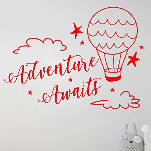 L'avventura attende la decalcomania della parete Bambini Ragazzi Camera da letto Nursery Oggettistica per la casa Nuvole e palloncini Hotair Stick da parete in vinile da viaggio 888-2 57x77 cm