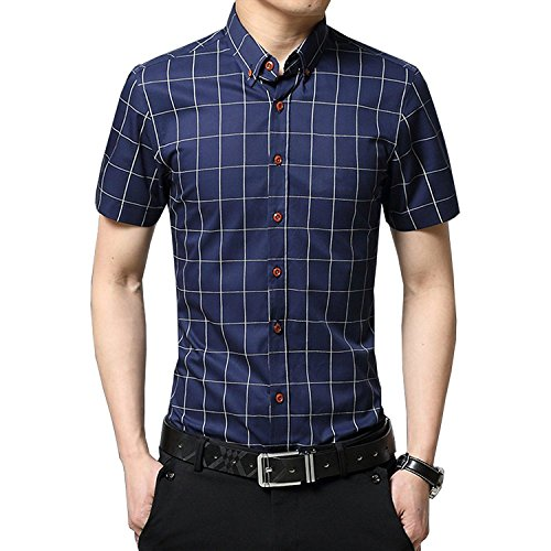 AIYINO Mens 100% Cotton Casual Slim Fit Short Sleeve Button Down Dress Shirt (Medium, G-Navy)