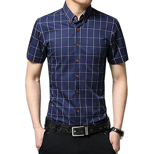 AIYINO Mens 100% Cotton Casual Slim Fit Short Sleeve Button Down Dress Shirt (Medium, G-Navy)