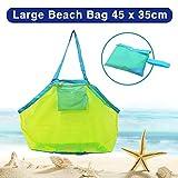 BornFeel grande borsa da spiaggia in rete per giocattoli sabbia via borsa con cerniera per bambino piscina viaggio Sandy scarpe Wet asciugamani 45,7x 30,5x 45,7cm verde maglia blu cinghie