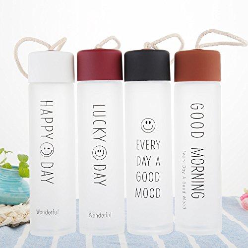 360ml Tragbare Sportflasche Trinkflasche aus Glas BPA-frei Wasserflasche Glas auslaufsicher Deck für Wandern, Fitnessstudio Laufen