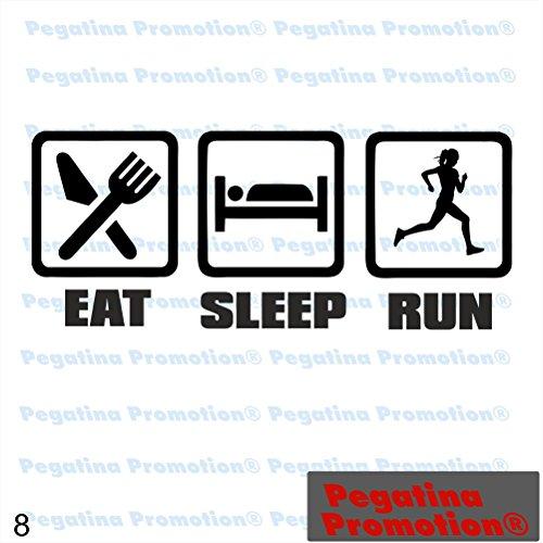 Eat Sleep Run Woman Laufen Hobby Aufkleber, ca.20 cm breite Hobbys Auto Autoaufkleber Sticker Heckscheibe Lack Vinyl Sport Sportaufkleber Auto-Aufkleber von Pegatina Promotion® Aufkleber mit Verklebehilfe von Pegatina Promotion®