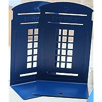 F.Dorla Coppia moda, in stile inglese, motivo: cabina telefonica di Londra, il chiosco Thickening Libreria Casa, ufficio e scuola Fermalibro Studio-Fermalibri in metallo