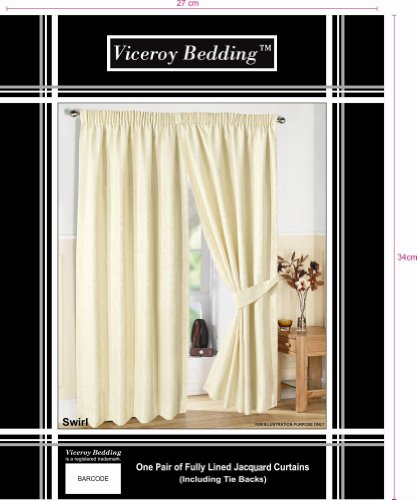 Pair of Fully Lined CREAM 46″ Width x Drop 54″ JACQUARD SWIRL DESIGN Pencil Pleat Curtains with Matching Tiebacks by VICEROY BEDDING