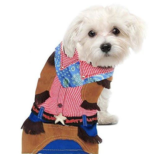 Brown Cowboy Kostüm Jungen - Deluxe Classic Cowboy Kostüm für Hunde von Puppe-Love, Size 5 (14