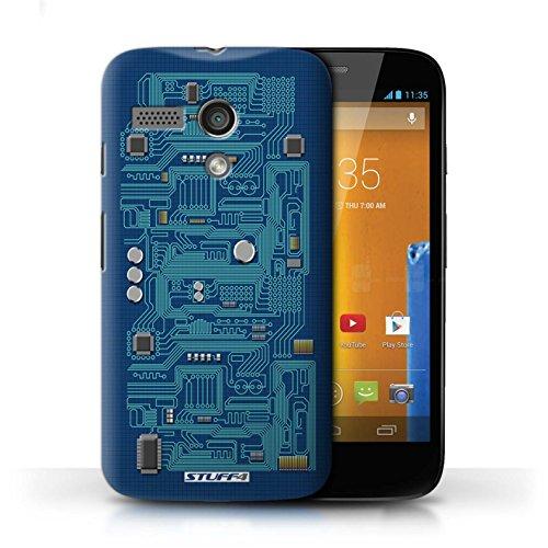 Kobalt® Imprimé Etui / Coque pour Motorola MOTO G (2013) / Rouge conception / Série Circuit Board Bleu