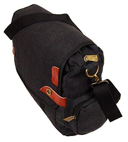 Ocello Herren Damen Leinen Schule Arbeit Schultaschen Laptop Uni Schulranzen Kuriertasche Umhängetasche Schwarz