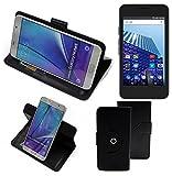 K-S-Trade® Case Schutz Hülle für Archos Access 45 4G Handyhülle Flipcase Smartphone Cover Handy Schutz Tasche Bookstyle Walletcase schwarz (1x)