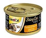 GimCat ShinyCat in Jelly Thunfisch mit Hühnchen, Nassfutter mit Fisch für Katzen, Katzenfutter mit Taurin in köstlichem Gelee, Ohne Zuckerzusatz und glutenfrei, 48 Dosen (48 x 70 g)