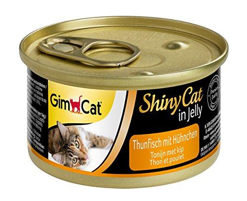 GimCat ShinyCat in Jelly - Comida para gatos con pescado en gelatina para gatos adultos - Atún con pollo - 48 latas (48 x 70 g)