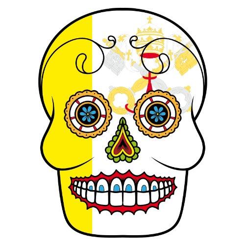 V-T-Shirt - Vatikan - Sugar Skull - Fahne - Damen Weiß