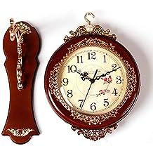 LIUXIAOJIE Reloj de Pared clásico de Doble Cara Reloj de Madera de imitación de péndulo Antiguo