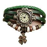 outflower Zubehör Mode-Retro Weave Wrap Around Armband Leder mit Anhänger in Schmetterling Lady Damen-Armband Armbanduhr QUARTZ Nature Stlye zeigt grün