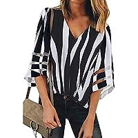 riou Mujer Camiseta Cuello en v Malla con Estampado de Rayas Irregulares Elegantes Arriba Casual Top