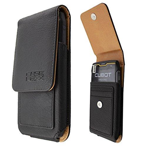 caseroxx Handy-Tasche Outdoor Tasche für Cubot King Kong aus Echtleder, Handyhülle für Gürtel in Schwarz