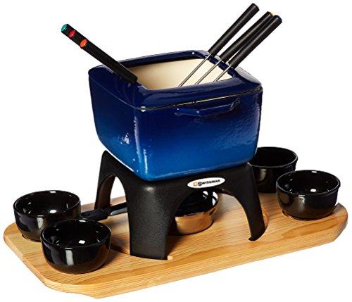 Swissmar Montblanc Meat Fondue, 15 piece, Blue Dipping-fork Set