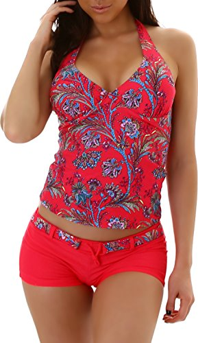 Damen Tankini Bikini Bademode Badeanzug Polster Zweiteiler Panty Top Paisley Print Rot 40/42 (Etikett XXXL) (Paisley Print Bikini)