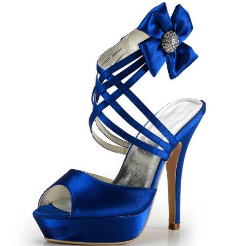 Elegantpark ep2031-pf donna satin peep toe con plateau tacco a spillo sandali sposa scarpe da sposa blu eu 39