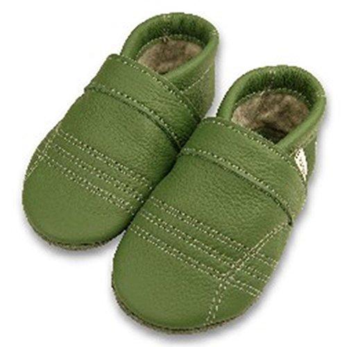 Warm-up naturwoll chaussons avec doublure en feutre - gras-grün