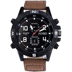 Men's Wrist Watch - PINBO Men's Large dial canvas Watch Band movement quartz Wrist Watch Coffee Bnad+Black Dial