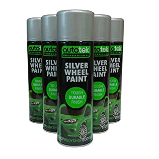 (Pack of 4) Autotek Silver Wheel Spray Paint 500ml Fast Drying Tough Hard Semi Gloss Finish for Car Van trailer Wheels