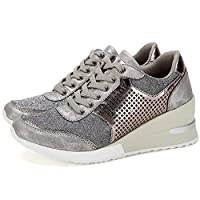 High Heeld Wedge Sneakers for Women - Ladies Hidden Sneakers Lace Up Shoes, Best Chioce for Casual and Daily Wear SM1-SILVER-8