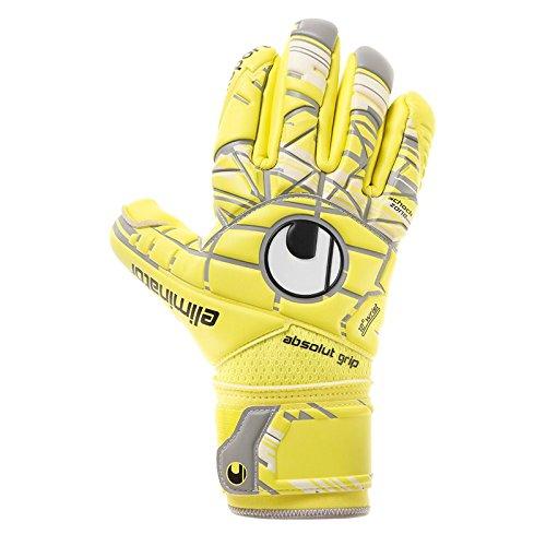 uhlsport Herren Elm Unlimited Absolutgrip Fingersurround Torwart-Handschuhe, Lite Fluo Gelb/Griffin Grau/Weiß, 9.0