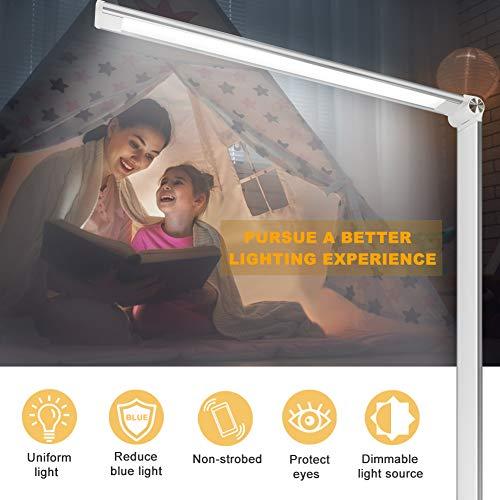 51xdnvL3vwL - Lámpara Escritorio LED,5*10 Modos de Brillo con 52 SMD Leds Lámparas Mesa USB Recargable,2000mAh Plegable Flexo de Escritorio Control Táctil,Protege a ojos