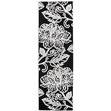 "Vallila Interior 68 x 220 cm Acrílico 70 por ciento de chenilla/30 por ciento algodón ""canela"" camino de mesa diseño de flores, negro"