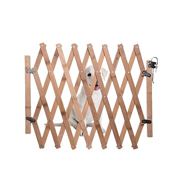 Pet Expanding Wooden Fence Gate,Retractable Dog Screen Sliding Door Gates Doorways Freestanding Portable Dog Cat Gate Safety for Home Patio Garden Lawn cheerfulus-123 Pet Wooden Door Fence: The wooden fence gate allows pets to stay away from dangerous areas while providing a safe fence for play and rest Retractable Dog Gate: The length is about 60-110cm,the distance that can be stretched when used,can be shrunk when not in use Easy Installation: The wood pet fence has two screws fixed on one side, and the other side is designed as a buckle for easy access 1