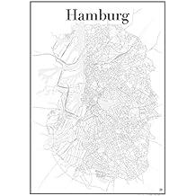 Hamburg Poster — Stadtplan Plakat Staßennetz (60 cm x 84 cm) Kunstdruck