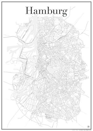Hamburg Poster - Stadtplan Plakat Staßennetz (60 cm x 84 cm) Kunstdruck