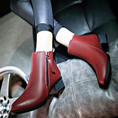 Amlaiworld Nuove Donna Moda stivali di pelle alla caviglia rosso