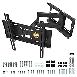 RICOO R23-S, TV Wandhalterung Schwenkbar, Neigbar, Universal 32 - 65 Zoll (81-165 cm) Curved-,LCD-,LED-Fernseher, VESA 400x400, Schwarz