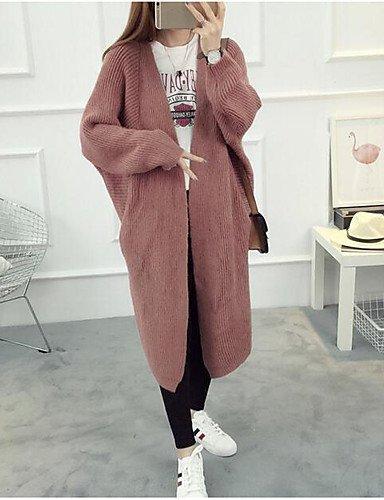 BaiChunYunYi Damen Lang Strickjacke-Lässig/Alltäglich Einfach Solide V-Ausschnitt Langarm Polyester Herbst Mittel Mikro-elastisch, Light Brown, one-Size - Alltägliche Strickjacke