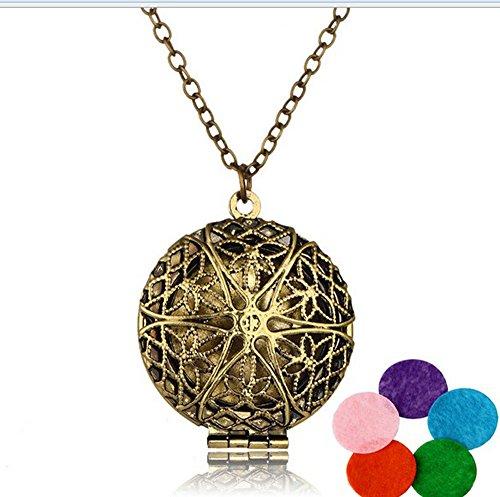 Medaillon-halskette Antike (Antik Bronze Medaillon Halskette Aromatherapie ätherisches Öl Diffusor Halskette Anhänger mit verschiedenen Farbe Refill Pads, bronze)