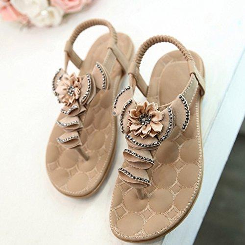 TAOFFEN Femmes Boheme Tongs Sandales Mode Slingback Chaussures De Fleur Abricot
